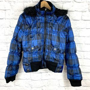Sugarcoat Black Blue Plaid Hooded Puffer Jacket L